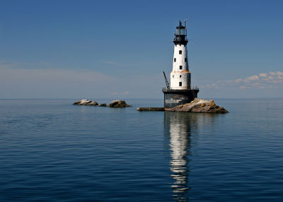 photo of the Rock of Ages Lighthouse, off Isle Royle in Michigan