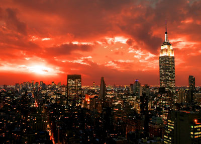 Photo of sunset over New York City