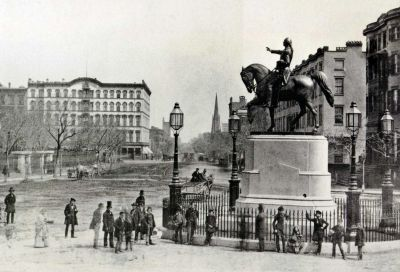 Historical photo of the statue of George Washington in Union Square Park
