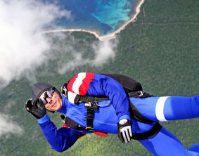 Photo of a skydiver skydiving