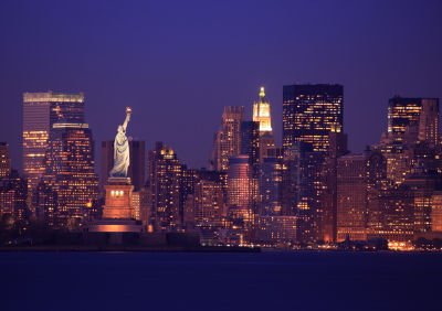 Photo of New York City skyline with Statue of Liberty