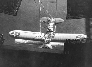 Sparrowhawk hooking into the USS Akron, 1932