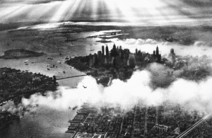 Spectacular sunset over NYC in 1932
