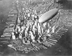 The USS Akron flying over Manhattan in the early 1930s