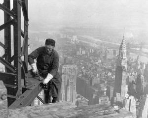 Construction worker on the Empire State Building in 1930