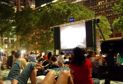 Photo of movies in Bryant Park in New York City