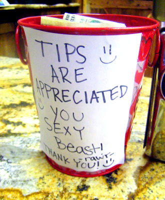 Photo of a tip jar in the United States