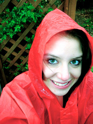 Photo of a woman in a rain poncho