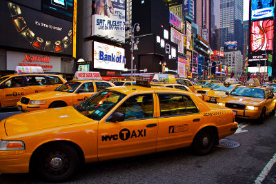 Photo of taxi cabs in New York City